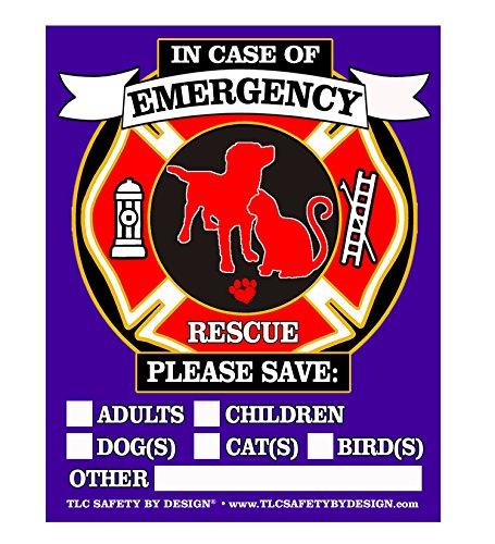 Pet Fire Rescue Top spezifische Sicherheit Alert Notfall Pet Hund Katze 10,2x 12,7cm Hinter dem Glas oder vor Oberfläche Fenster Aufkleber selbst Aufkleber Qty. 4 Front Surface Purple Red Black Gold