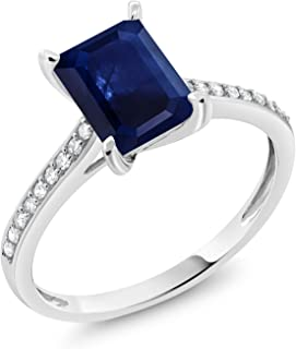 Gem Stone King 10K White Gold Blue Sapphire and White Diamond Women's Engagement Ring (1.34 Cttw, Emerald Cut 8X6MM, Available in size 5, 6, 7, 8, 9)