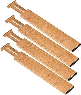 Ysislybin Lade verdeler 4-delige set, ladeverdeler verstelbaar bamboe, uitbreidbare ladeverdeler voor keuken, slaapkamer, ...