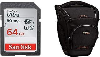 SanDisk Ultra Tarjeta de Memoria SDXC de 64 GB (hasta 80 MB/s Clase 10) + AmazonBasics - Funda para cámara de Fotos réflex Color Negro