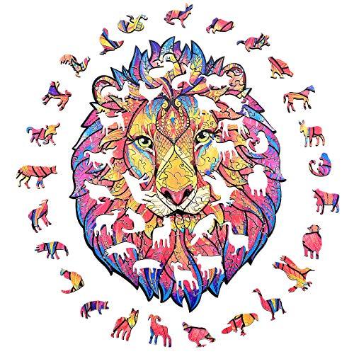GOLDGE Puzzle in Legno di Animali, A3 Pezzi di Puzzle di Forma Unica, Puzzle Animali Colorati 3D per Adulti e Bambini, Miglior Regalo per Puzzle di Decorazione Domestica