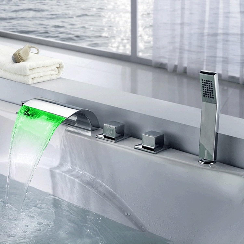 Wasserhahn Badzubehr, einfach zu bedienen und benutzerfreund Badewannenarmatur Vollkupfer-LED-Quadrat-Chrom-Wasserfall-Mischbatterie Fünfstück-Dreifach-Badewannenarmatur XIAHE