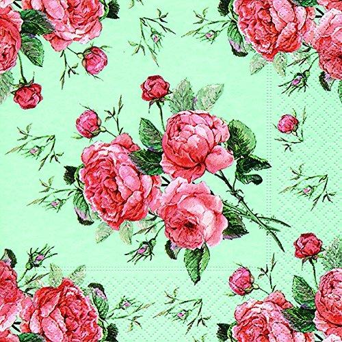 20 Serviette Biedermeier Blumen Rose 33x33 cm, 3-lagig, 1/4 gefaltet auf 16,5x16,5 cm