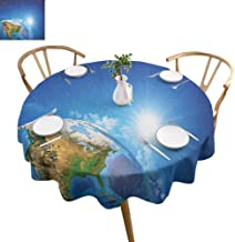 ScottDecor Earth Dinning Tabletop Decoration United States View in Space Rising Sun Over The Earth and Its Landforms Kids Round Tablecloth Blue Green Pale Brown Diameter 54