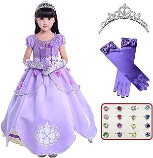 ソフィア ドレス コスプレ コスチューム ふんわり4層構造 ロングドレス+ティアラ+ロンググローブ+指輪 4点セット プリンセスドレス 女の子 衣装(130.紫ロング)