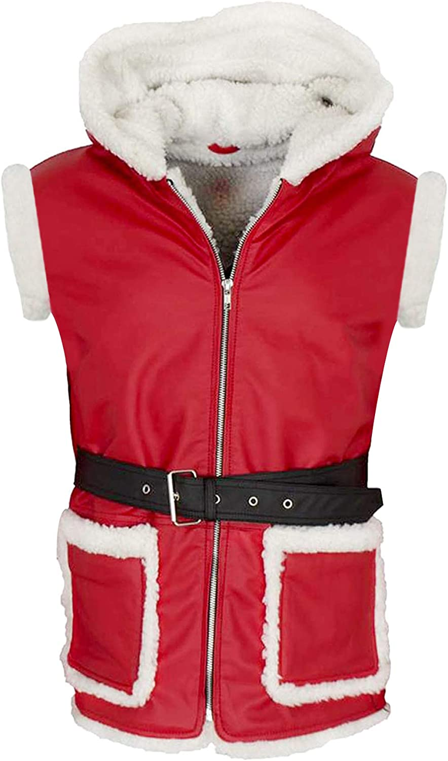 Mens Christmas Red Leather Coat - Cosplay Costume Outfit - Shearling Adult Winter Christmas Leather Jacket for Men 2XS to 4XL