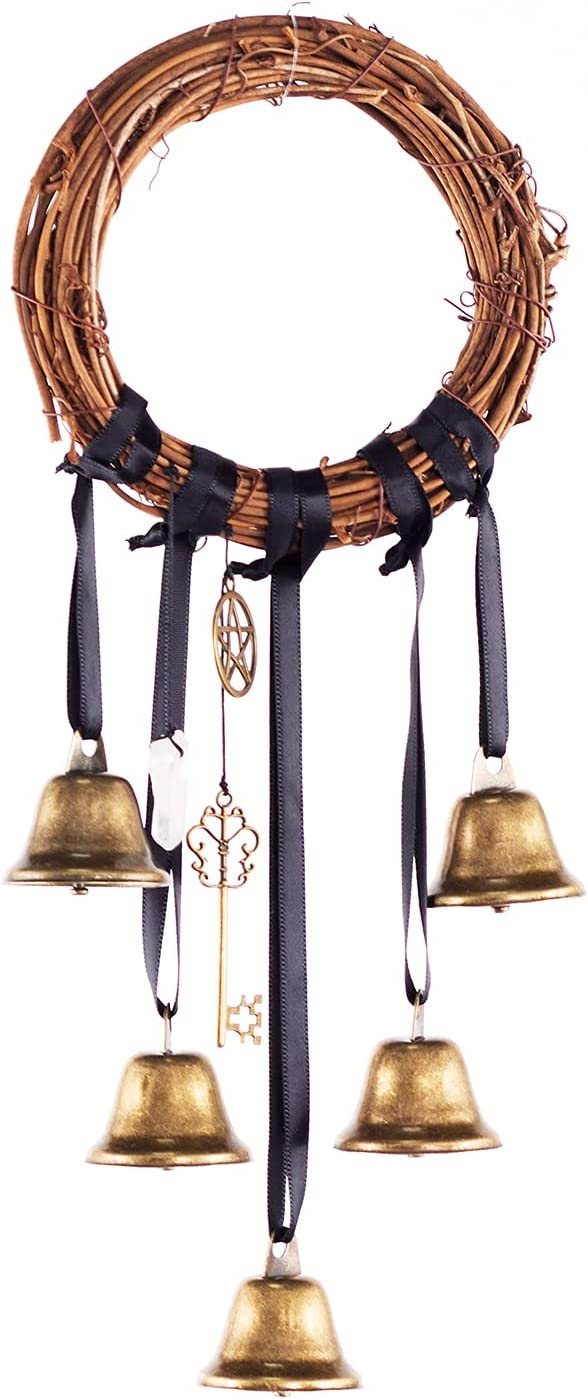 Witchcraft Kit Witch Bells for Home Protection Chimes Witch Gifts for Negative Energy Protection,Good Luck Charms in Magic Home,Witch Room Decor,Kitchen Witch Decor with Crystal,Pentagram,Brass Bell