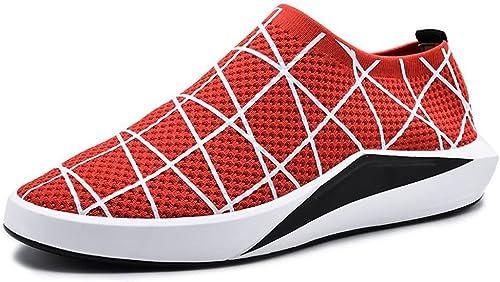 DINGGUANGHE-schuhe Rote Rote Schnürschuhe Stilvolle Bequeme Herren Sportlich Flache Ferse Einfarbig Freizeitschuhe Mode Schnürschuhe (Farbe   Rot, Größe   44 EU)