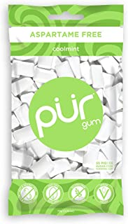 The PUR Company | Sugar-Free + Aspartame-Free Chewing Gum | 100% Xylitol | Coolmint | Vegan + Non GMO | 55Pieceper Bag