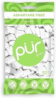 The PUR Company | Sugar-Free + Aspartame-Free Chewing Gum | 100% Xylitol | Coolmint | Vegan + Non GMO | 55Pieceper Bag