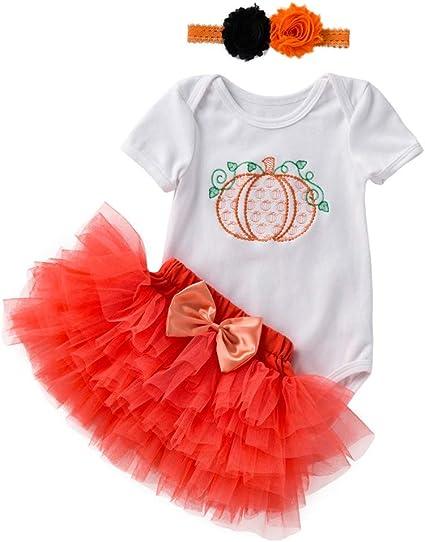 Newborn Baby Girl My First Halloween Short Sleeve Bodysuit Romper+Pumpkin Tulle Tutu Skirt Dress+Headband 3PCS Outfit Set
