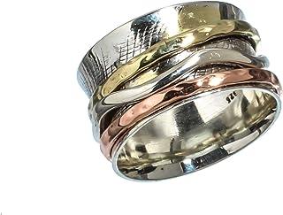 Anillos de plata de banda ancha para mujer,Kanika Jewelry Trove Womens Rings, Vintage Style 925 Solid Sterling Silver Spin...