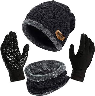 3 قطع قبعة شتوية صغيرة ، وشاح تدفئة ، مجموعة قفازات تعمل باللمس للرجال والنساء ، قبعة جمجمة سميكة سميكة