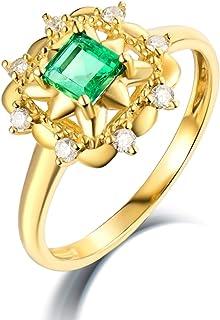 ButiRest - Anello in oro giallo 750, 18 K, 18 carati, con quattro artigli, taglio quadrato 0,36 carati, smeraldo VS e diam...