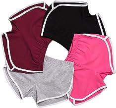 iMixCity Damen Sport Shorts Retro Shorts Aktiv Yoga Shorts Hose mit Farbig Abgesetzen Rändern