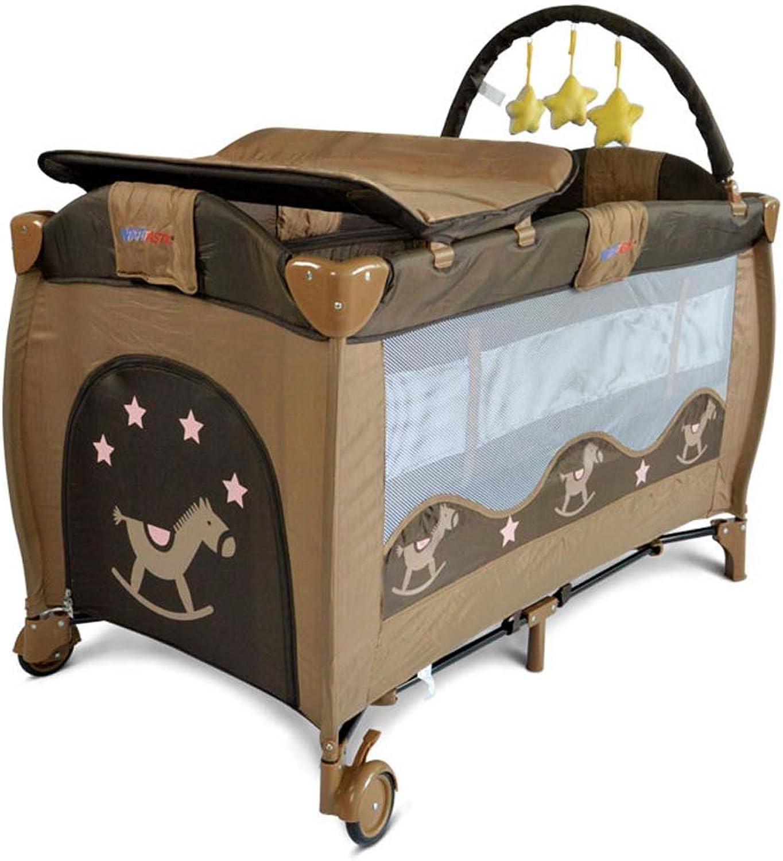 Baby Wickeltisch, Krippe Kinderspielbett, Fallschutzzaun Portable Faltbare Babywindel Tischlast 30 Kg (Farbe   Kaffee - farbe)