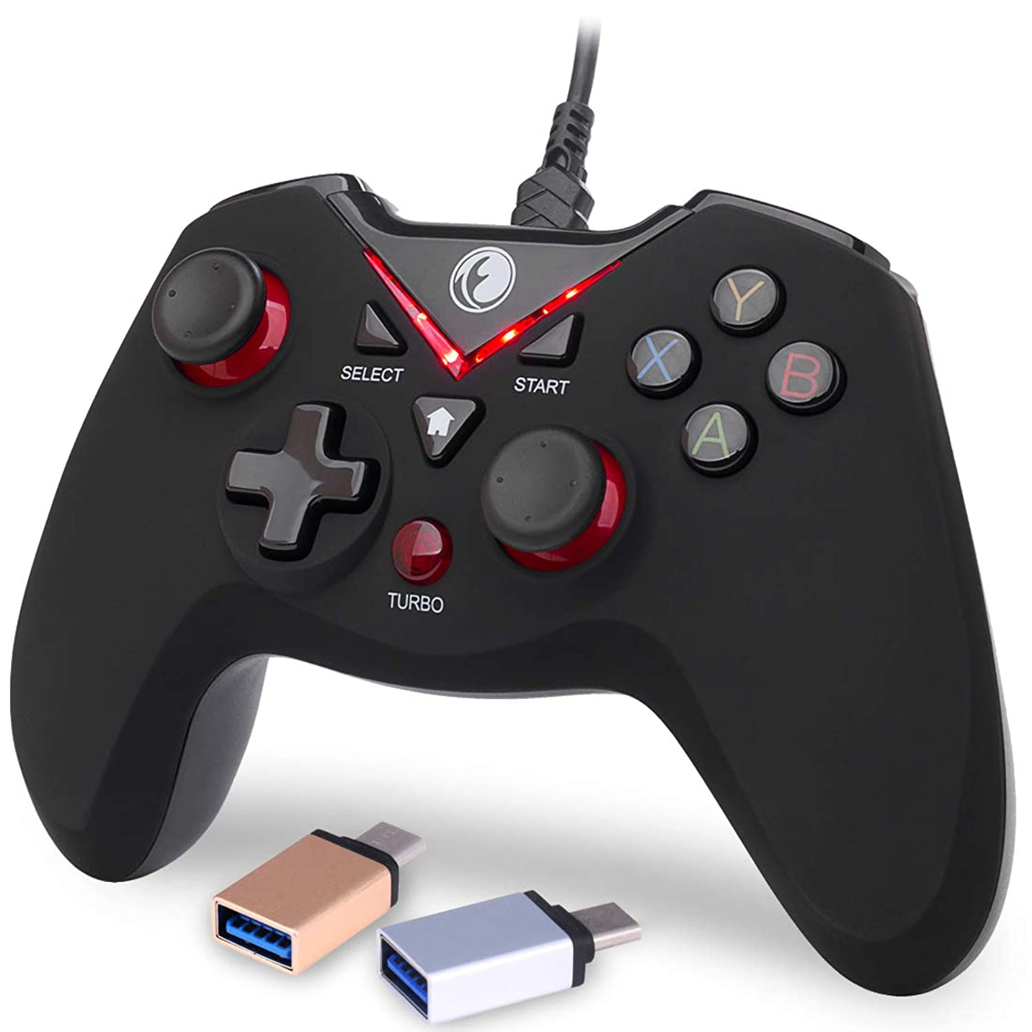 IFYOO V-one Wired USB Gaming Controller Gamepad Joystick for PC Laptop Computer (Windows XP/7/8/10) & Steam & Android & PS3 - [Red,OTG]