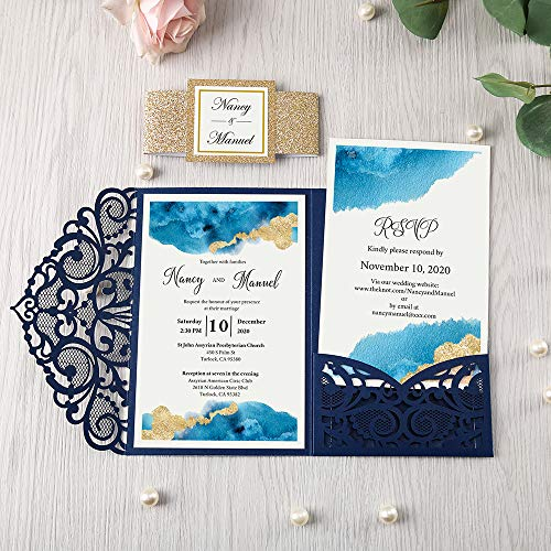 DORIS HOME 4.7x7 Inch 50PCS Blank Navy Blue Laser Cut Wedding Invitations With Envelopes Kit Hollow Heart Shape Pocket With Gold Glitter Belly Band Wedding Invitation Cards For Wedding Invite