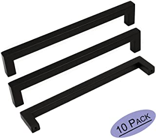 10Pack Goldenwarm Black Square Bar Cabinet Pull Drawer Handle Stainless Steel Modern Hardware for Kitchen and Bathroom Cabinets Cupboard,Center to Center 6-1/4in(160mm) Kitchen Cupboard Handles