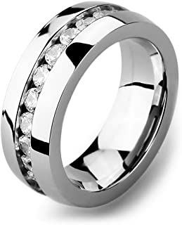 INBLUE Men's Wide 8mm Stainless Steel Eternity ring Band CZ Silver Tone Wedding