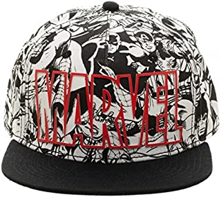 Marvel Comics Text Logo Black   White Superhero All Over Print Snapback Hat 734aced83b67