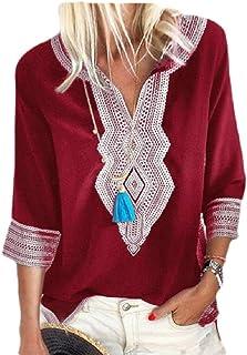 Agana Women 3/4 Sleeve V Neck Summer Printed Casual Tops Blouse T-Shirt