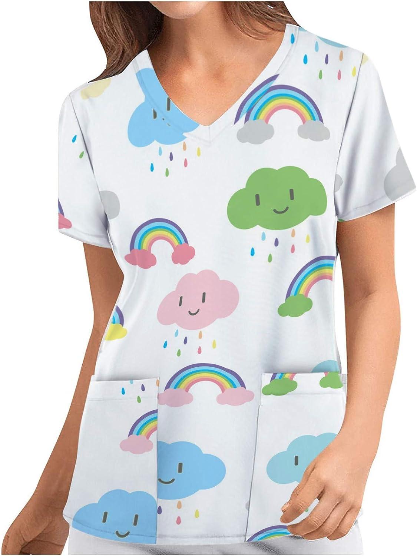 Women Short Sleeve Scrub_Top Cartoon Pattern Workwear Tops Nurses_Tunic V-Neck Working Uniform T-Shirts