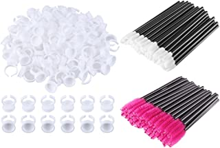 CCINEE 200pcs Disposable Mascara Wands Glue Rings Plastic Glue Holder Rings for Makeup Nail Art Microblading with Lip Brushes and Eyelash Brushes