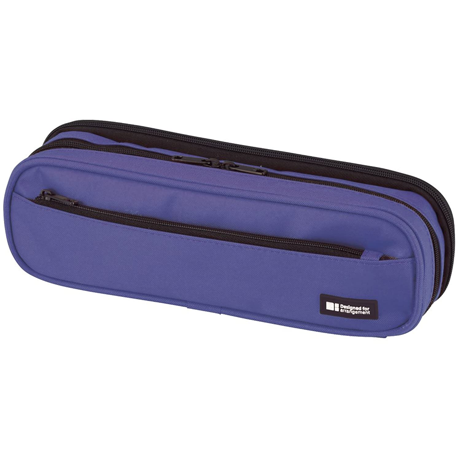 LIHIT LAB. Double Zipper Pen Case, 9.4 x 2.4 x 3 inches, Blue (A7557-108)