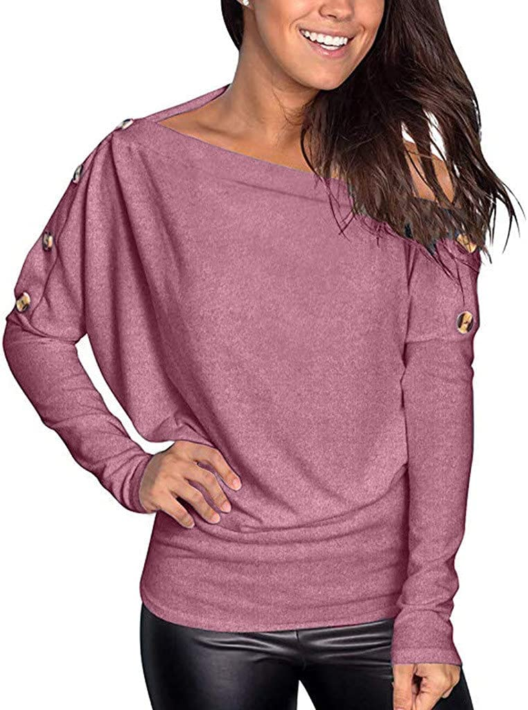 Womens Tops Women Max shipfree 60% OFF Casual Long-Sleeved One-Shoulder Buttons Comfo