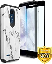 TJS LG K10 2018/LG K30/LG Premier Pro LTE/LG Harmony 2/LG Phoenix Plus Case, [Tempered Glass Screen Protector] Dual Layer Hybrid Shockproof Protection Rugged Marble Phone Case Cover (White)