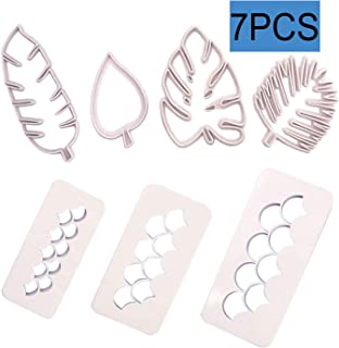 7 Pack Cake Fondant Embossing Mold Mermaid Scales Tropical Leaf Cookie Cutters Biscuit Moulds for Sugarcraft Fondant Baking Mold Cupcake Decorating