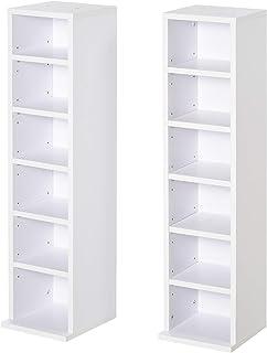 HOMCOM Lot de 2 étagères colonnes Armoire de Rangement CD 6 + 6 Compartiments Blanc dim. 21L x 22,5l x 88,5H cm