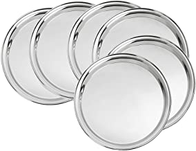 King International 100% Stainless Steel Quarter Pate | Snack Plate | Set of 6 Mess Trays Great for Camping | 19 cm Mess Trays Great for Camping