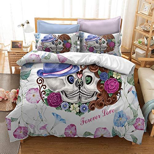 BH-JJSMGS Aquarell Blume Schädel Bettwäsche, leichte Polyester Mikrofaser Bettbezug, Liebe 260x220cm