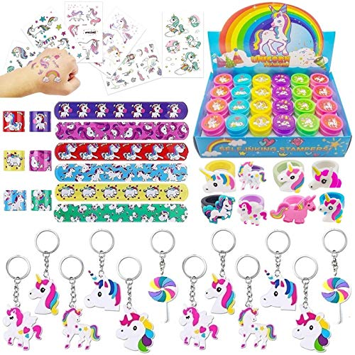 72 Pieces Unicorn Themed Party Favor Pack for Kids Unicorn Birthday Party Supplies with Unicorn Stampers and Unicorn Bracelet Keychain Ring Great Xmas Present Idea for Girls Boys Women