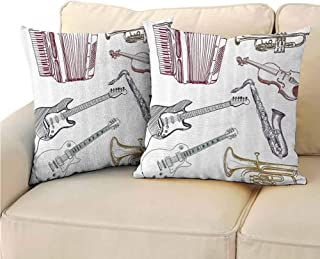 QIAOQIAOLO Pack of 2 Concealed Zipper Pillowcase Music Decor Room Decoration 20x20 inch Musical Instruments Like Cello Guitar Accordion Trumpet Violin Saxophone Print Multicolor