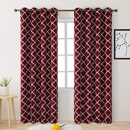 BYSURE Blackout Curtains Drapes 52 x 84 Inch Length 2 Panel Sets, Thermal Insulated Grommet Curtains for Bedroom Window/Living Room/Sliding Glass Door, Moroccan Geometric Printed Design (Burgundy Red)