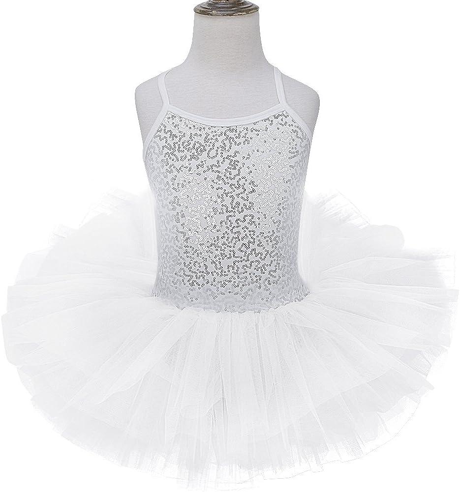 Doomiva Kids Girls Stage Performance Ballet Tutu Dress Dance Skirt Ice Skating Shiny Sequined Dancewear