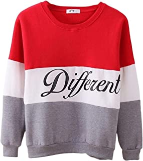 Stylish Letter Different Printed Women Fleeve Hoodies Spring Long Sleeve Sweatshirt Patchwork O-Neck Pullovers