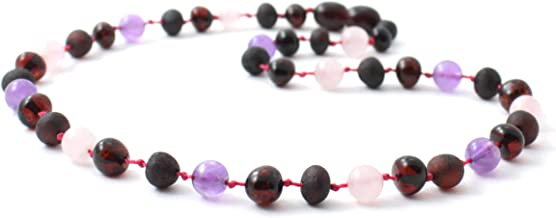 Baltic Amber Teething Necklace Made with Rose Quartz and Amethyst Beads - 11 inches (28 cm) - Cherry Amber Beads - BoutiqueAmber (11 inches, Cherry/Amethyst/Quartz)
