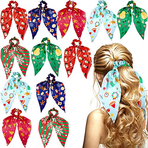 12 Pieces Christmas Scrunchies Hair Scarf Christmas Hair Scarf Ribbon Bow Scrunchies Satin Hair Scarfs Christmas Hair Accessories for Women Girls
