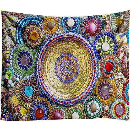 Colgante de Pared Indio Mandala Tapiz 3D Jade Decoración para el hogar Sala de Estar Fondo de la Pared Alfombra de Tela Hippie Manta 230X150 CM B001