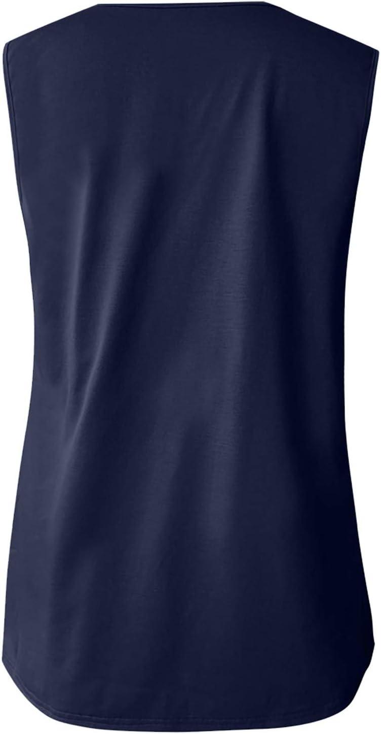 Pisexur Tops for Women Vintage Buttons V Neck T Shirts Sling Plain Tanks Sleeveless Vest Loose Pullover Blouse Tops