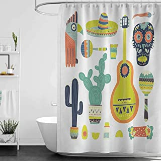 StarsART Shower Curtains Pink Fiesta,Symbols from Mexico Guitar Face Aztec Mask Tequila Skull Musical Instruments Taco,Multicolor,W69 x L90,Shower Curtain for Girls Bathroom