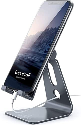 Adjustable Cell Phone Stand, Lamicall Desk Phone Holder, Cradle, Dock, Compatible with Phone 12 Mini 11 Pro Xs Max XR...