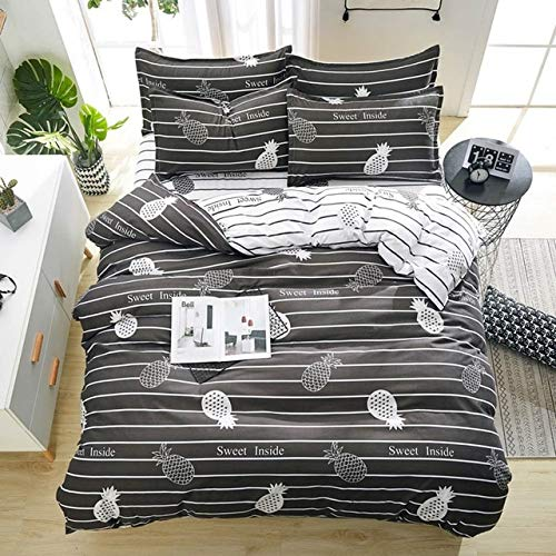 RONGXIE Fashion bedlijn Bedding sets grijs Bladeren zwart en wit rooster bed Sheet Kussensloop Dekbedovertrek Sets bedkleding set