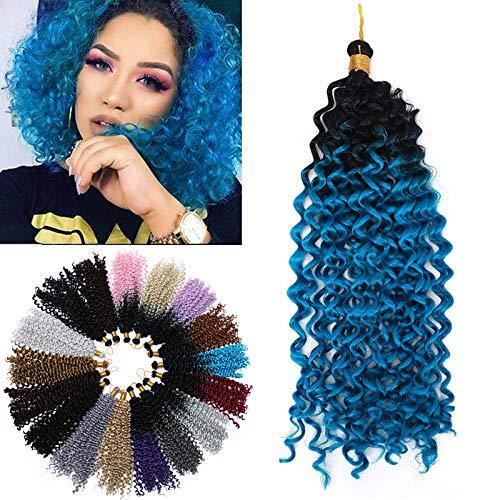 14 Pouces Une Pièce Crochet Braids Mèches Ondulé Tresses Africaines Mèche Pour Crochet Braids, Noir à Bleu Royal