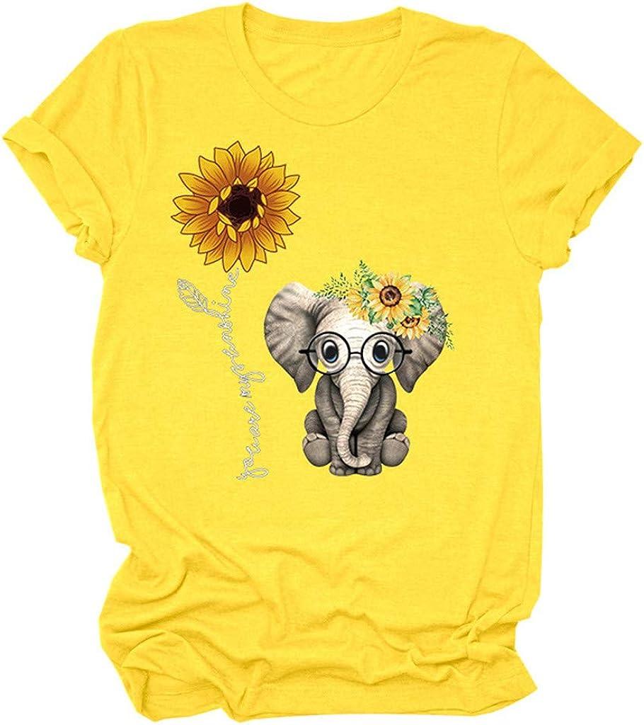 Women Short Sleeve Graphic Tshirts, Women's Cute Elephant Sunflower Print O-Neck Girls Tshirts Casual Tops Blouse Tunics