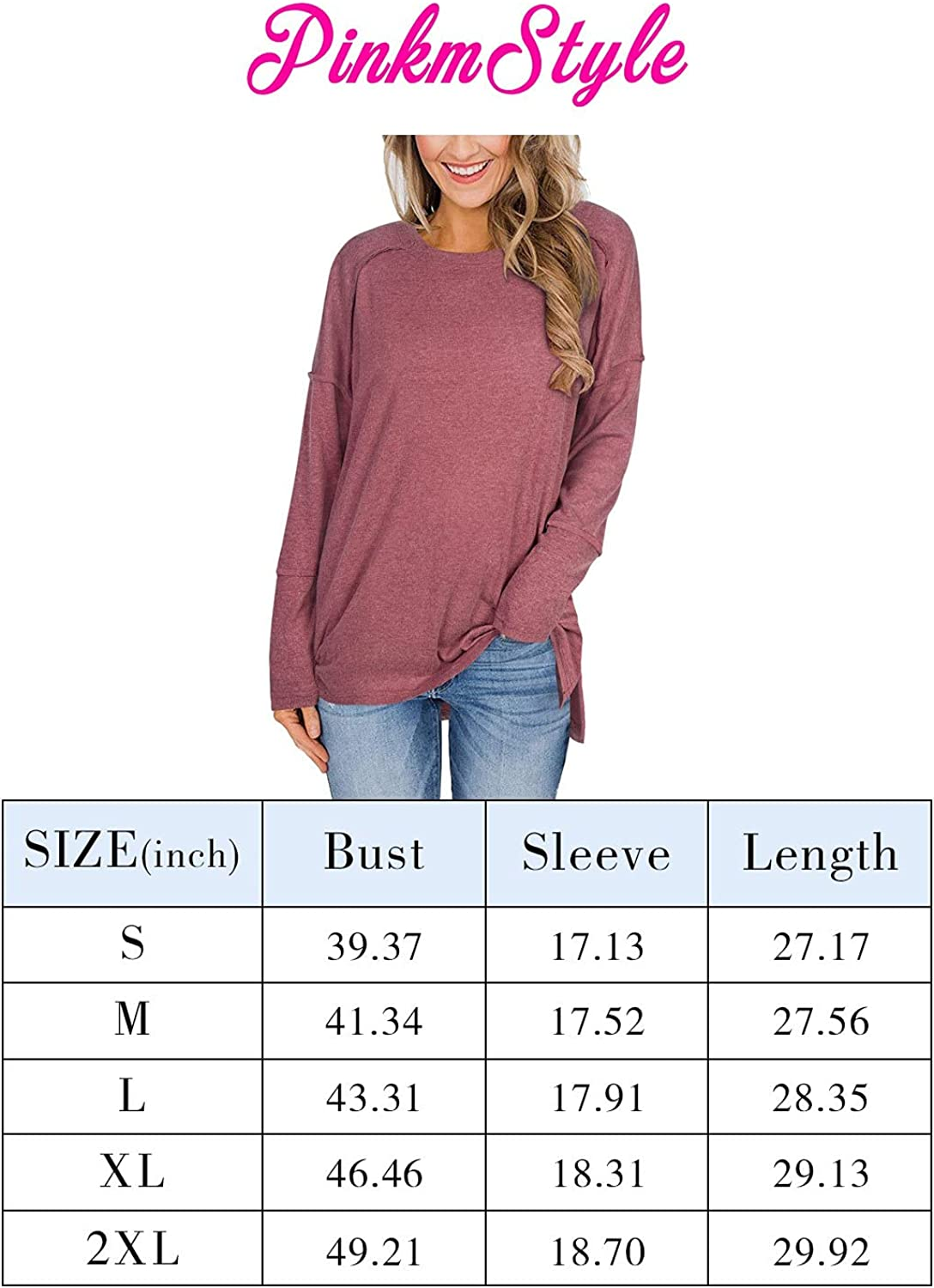 PINKMSTYLE Women's Crewneck Long Sleeve T Shirts Casual Side Split Tunic Tops